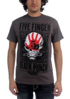Five Finger Death Punch   Mens Punchagram T Shirt in Gray Clothing