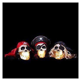 PIRATE SKULL HEADS Light up Display HALLOWEEN New Fun   Seasonal Decor