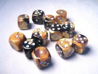 Chessex Dice d6 Sets Gemini Black & Gold with Silver   16mm Six Sided Die (12) Block of Dice Toys & Games