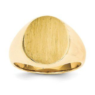 14k Yellow Gold Signet Ring. Gold Weight  11g. 16.2mm x 12.7mm face Jewelry