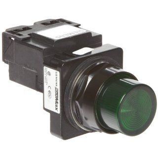 Siemens 52BL4H3 Heavy Duty Pilot Indicator Light, Water and Oil Tight, Plastic Lens, Transformer, 755 Type Lamp or 6V LED, Green, 240VAC Voltage