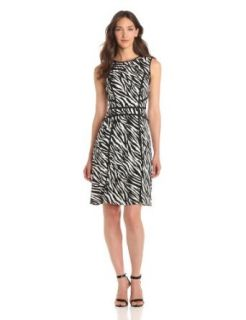 Adrianna Papell Women's Zebra Print Flare Dress, Black/White, 6
