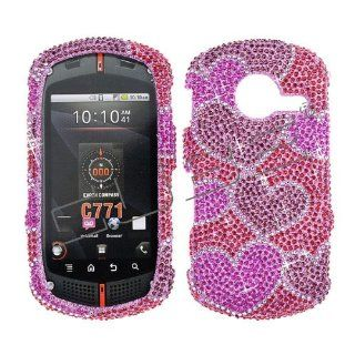 Verizon Casio G'zone Commando C771 C 771 Cover Faceplate Face Plate Housing Snap on Snapon Protective Hard Crystal Case Full Diamond Hearts Valentine Design Hot Pink Cell Phones & Accessories