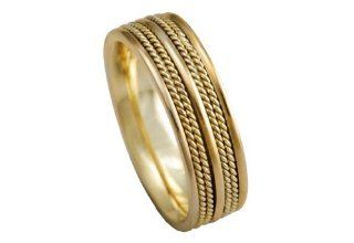 Men's 14k Yellow Gold Rope 7.5mm Comfort Fit Wedding Band Ring American Set Co. Jewelry