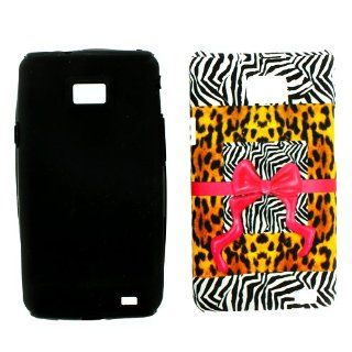Samsung Galaxy S II S2 S 2 / SGH i777 AT&T ATT Black White Zebra Yellow Cheetah Animal Skin Safari Mix Pattern Pink Ribbon Bow Tie Design Dual Combo Layer Hybrid 2 in 1 Snap On Hard Protective Cover and Black Silicone Case Cell Phone Cell Phones &
