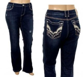 L.a. Idol Women Plus Size Bootcut Jeans Distressed Tribal Stretch in Dark Blue Jeans La Idol