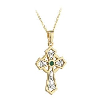 14k Two Tone Gold with Emerald Celtic Cross Necklace Irish Made Jewelry