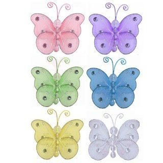 "Butterfly Decor 3"" Assorted Mini (X Small) Wire Hanging Butterflies 6pc set (Purple, Pink, Yellow, Blue, Green and White)   Decorate Baby Nursery Bedroom Girls Room Ceiling Wall Decor Wedding Birthday Party Bridal Baby Shower. Decoration Crafts Partie"