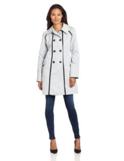 AK Anne Klein Women's Double Breasted Trench Coat, Dove, Medium
