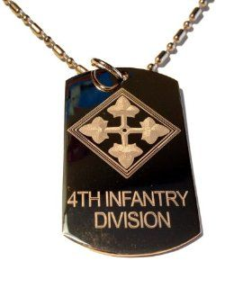 United States Armed Forces 4th Infantry Division Shield Logo Symbols   Military Dog Tag Luggage Tag Key Chain Metal Chain Necklace