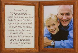 5x7 Hinged GRANDSON Poem Oak Picture Photo Frame ~ A Wonderful Gift Idea for Grandparents, Grandpa or Grandma for Valentines Day, Birthday or Christmas   Double Frames
