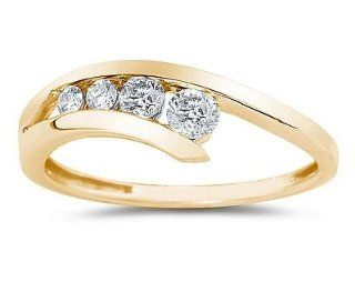Diamond Journey Ring In 14K Yellow Gold Jewelry