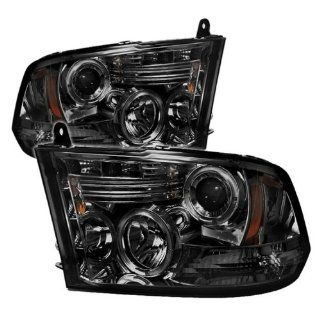 Dodge Ram 1500 2009 10 Halo LED Projector Headlights   Smoke Automotive