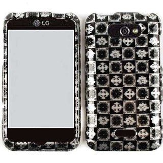 ACCESSORY HARD SNAP ON CASE COVER FOR LG MOTION 4G MS 770 TRANS BLACK WHITE SIGNS IN SQUARES Cell Phones & Accessories