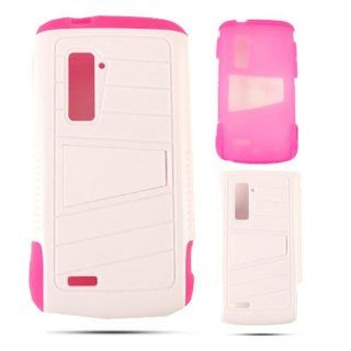 Pink Gel and White Hybrid Kickstand Tough Protection Cover, Silicone & Hard Shell for ZTE Anthem N910 Cell Phones & Accessories