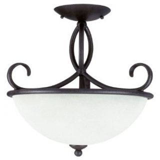 Sea Gull Lighting 75075 799 3 Light Pemberton Semi Flush Mount Fixture, Pompeii Cream Etched Glass and Peppercorn   Close To Ceiling Light Fixtures