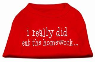 Mirage Pet Products I Really Did Eat The Homework Screen Print Shirt for Pets, XX Large, Red