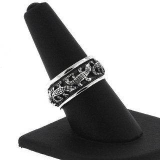 .925 Sterling Silver Men's Alligator Spinner Band Ring (11) Jewelry
