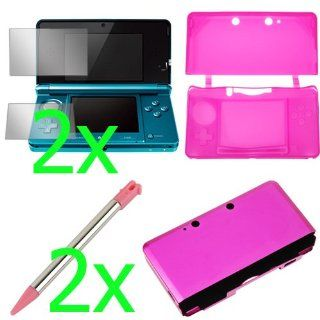 BIRUGEAR Hot Pink Silicone Skin Rubber Soft Case + Hot Pink Aluminum Hard Metal Cover Case + Clear LCD Screen Protector Film Guard + 2x Light Pink Retractable Metallic Stylus for Nintendo 3DS Video Games