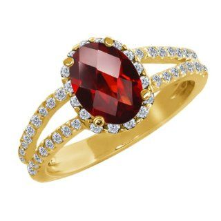 1.88 Ct Oval Checkerboard Red Garnet White Diamond 18K Yellow Gold Ring Jewelry