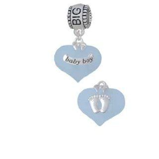 Baby Boy Blue Heart with Baby Feet Big Sister Charm Dangle Bead Delight Jewelry Jewelry