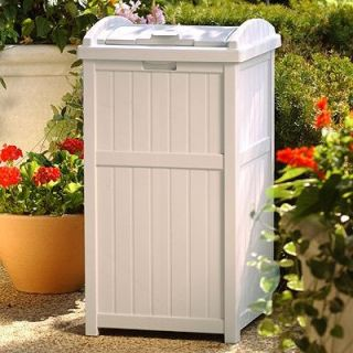Suncast Trash Hideaway Plastic 33 Gallon Outdoor Trash Can   Outdoor Trash Cans
