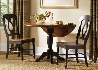 Liberty Furniture Low Country Black 3 pc. Drop Leaf Table Set with Napoleon Chairs   Dining Table Sets