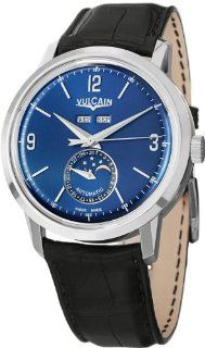 Vulcain President's Moonphase 580158.329L/BK 42mm Automatic Stainless Steel Case Blue Calfskin Anti Reflective Sapphire Men's Watch at  Men's Watch store.