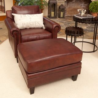 Elements Manchester 2 Piece Set Top Grain Leather Accent Chair and Ottoman   Barolo   Club Chairs