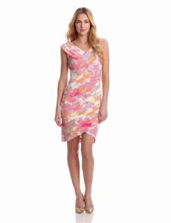 London Times Women's Printed Cap Sleeve Dress, Pink, 8
