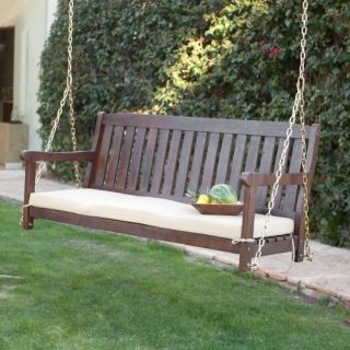 Coral Coast Cabos Java Brown Wood Porch Swing With Cushion   Porch Swings