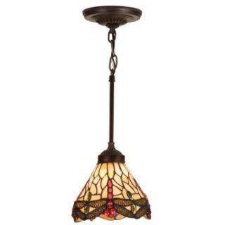 Meyda Scarlet Dragonfly Tiffany Mini Pendant Light   7W in. Bronze   Tiffany Ceiling Lighting
