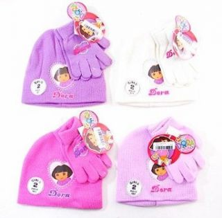 Dora the Explorer Girls Hat and Gloves Winter 2 Piece Set (Pink) Clothing