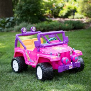 Fisher Price Power Wheels Barbie Jeep Wrangler Battery Powered Riding Toy   Battery Powered Riding Toys