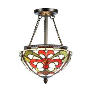 Dale Tiffany Baroque Semi Flush Mount   10.5W in. Antique Golden Sand   Tiffany Ceiling Lighting
