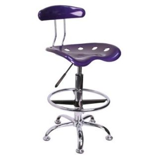 Vibrant Drafting Stool with Tractor Seat   Violet and Chrome   Drafting Chairs & Stools