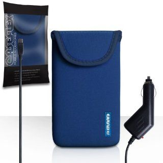 HTC One Max Case Blue Neoprene Pouch Cover With Caseflex Logo And Car Charger Cell Phones & Accessories