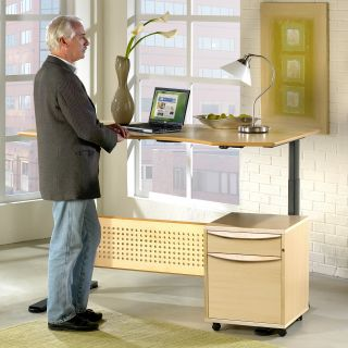 Jesper Sit and Stand Height Adjustable Desk   Maple   Office