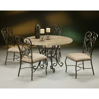 Pastel Magnolia 5 pc. Poly Travertine Top Dining Table Set   Dining Table Sets