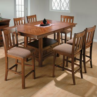Jofran Saddle Brown 7 Piece Rectangular Counter Height Table Set   Dining Table Sets