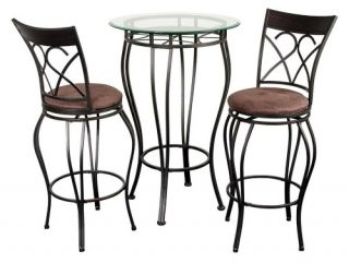 Fancy Glass Top 3 Piece Pub Table Set   Dining Table Sets