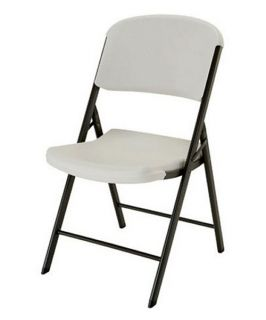 Lifetime Classic Commercial Folding Chair   White   4 Pack   Card Tables & Chairs