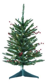 24 in. Mixed Berries and Pinecone Miniature Pre lit Christmas Tree with Plastic Base   Specialty Christmas Trees