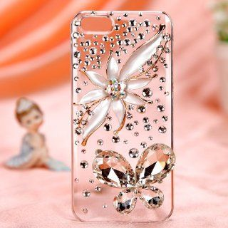 Floral Iris Gold Silver Clear Crystal Diamond Rhinestone Bling Case Cover Faceplate For Apple iPhone 5 5S with Free Pouch Cell Phones & Accessories