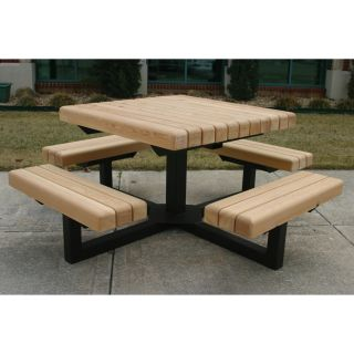 Square Heavy Duty Wood Picnic Table   Picnic Tables