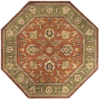 8' Las Margaritas Green and Raw Sienna Orange Wool Octagon Shaped Area Throw Rug   Hand Tufted Rugs