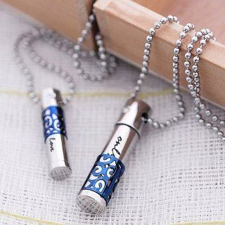 Two Piece of Romantic Ocean Blue Titanium Silver Necklaces Jewelry