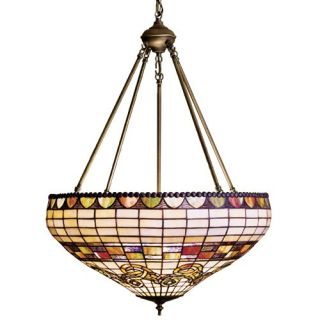 Meyda Edwardian Tiffany Inverted Pendant Light   23W in. Bronze   Tiffany Ceiling Lighting