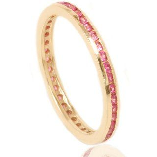 .50CT Pink Sapphire Eternity Ring 14K Yellow Gold Jewelry