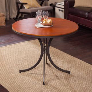 Meco Innobella Destiny 38 in. Round Wood Folding Table   Mission Rosso   Dining Tables